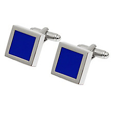 Rhodium-Plated & Blue Enamel Square Cufflinks - Product number 4249623