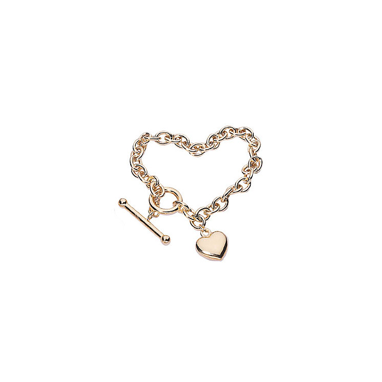 9ct Gold Belcher T-Bar Heart Bracelet - Product number 4255925