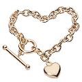 9ct Gold Belcher T-Bar Heart Bracelet - Product number 4255925