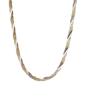 9ct Three Colour Gold Herringbone Necklace