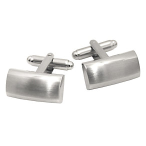 Rhodium-Plated Brushed & Polished Curved Cufflinks - Product number 4260651