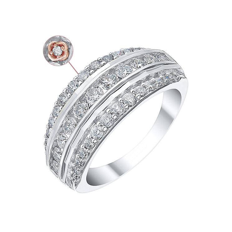 18ct White Gold 1ct Diamond Three Row Eternity Ring - Product number 4260724