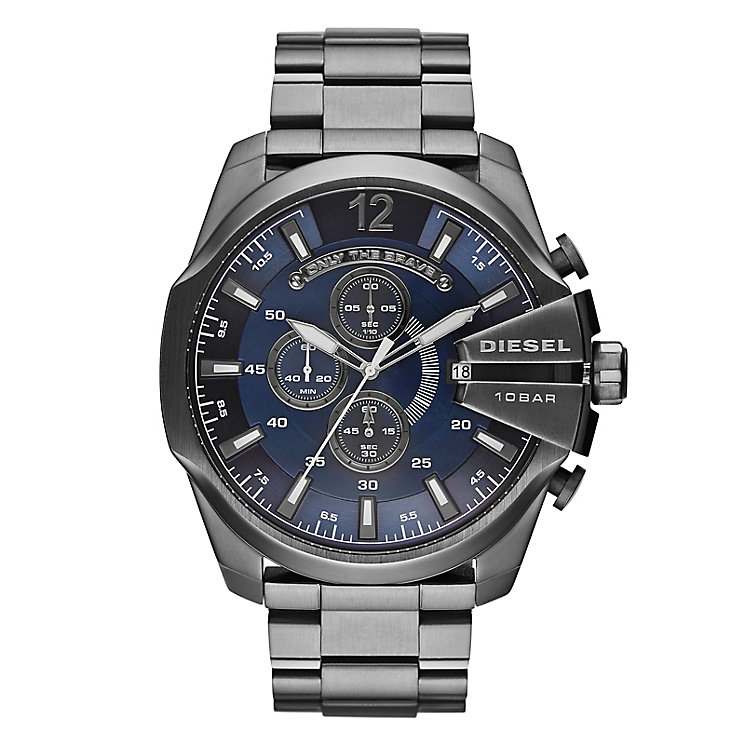 Diesel Mens Mega Chief Blue Dial & Gunmetal Bracelet Watch - Product number 4261879