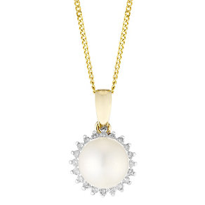 9ct Gold Cultured Freshwater Pearl & Diamond Flower Pendant - Product number 4263537