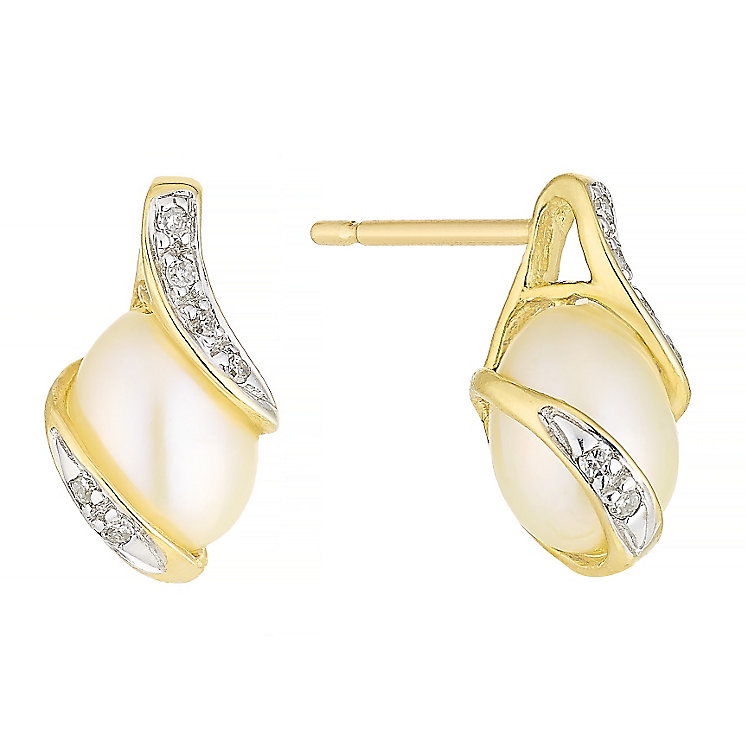 9ct Gold Cultured Freshwater Pearl & Diamond Stud Earrings - Product number 4263553