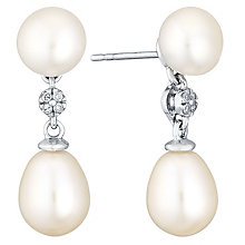 9ct White Gold Cultured Freshwater Pearl & Diamond Earrings - Product number 4293142
