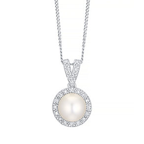 9ct White Gold Cultured Freshwater Pearl & Diamond Pendant - Product number 4297741