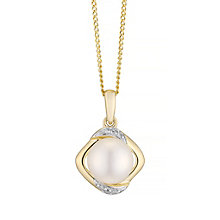 9ct Yellow Gold Cultured Freshwater Pearl Diamond Pendant - Product number 4297814