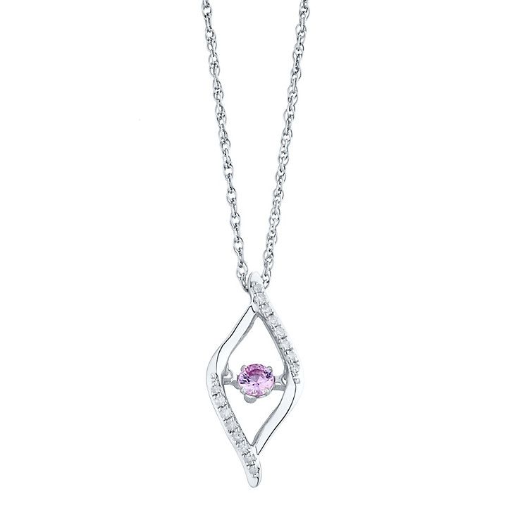 Sterling Silver Pink Sapphire 0.10ct Diamond Pendant - Product number 4298136