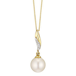 9ct Yellow Gold Cultured Freshwater Pearl & Diamond Pendant - Product number 4298144