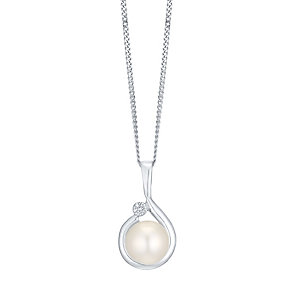 9ct White Gold Cultured Freshwater Pearl & Diamond Pendant - Product number 4298160