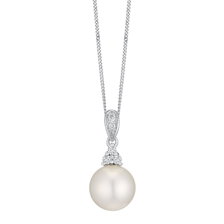 9ct White Gold Cultured Freshwater Pearl & Diamond Pendant - Product number 4298187