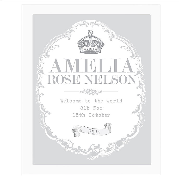 Personalised Royal Crown White Poster Frame - Product number 4298314
