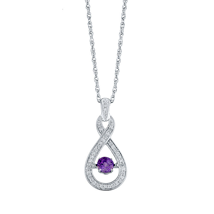 Sterling Silver Amythst 0.12ct Diamond Pendant - Product number 4298330