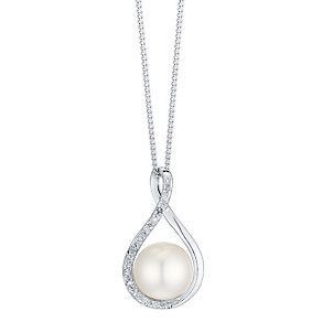 9ct White Gold Cultured Freshwater Pearl & Diamond Pendant - Product number 4298365