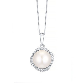 9ct White Gold Cultured Freshwater Pearl & Diamond Pendant - Product number 4298373