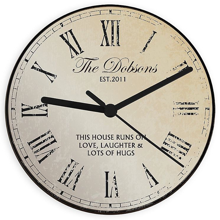 Personalised Rustic Glass Clock - Product number 4298381