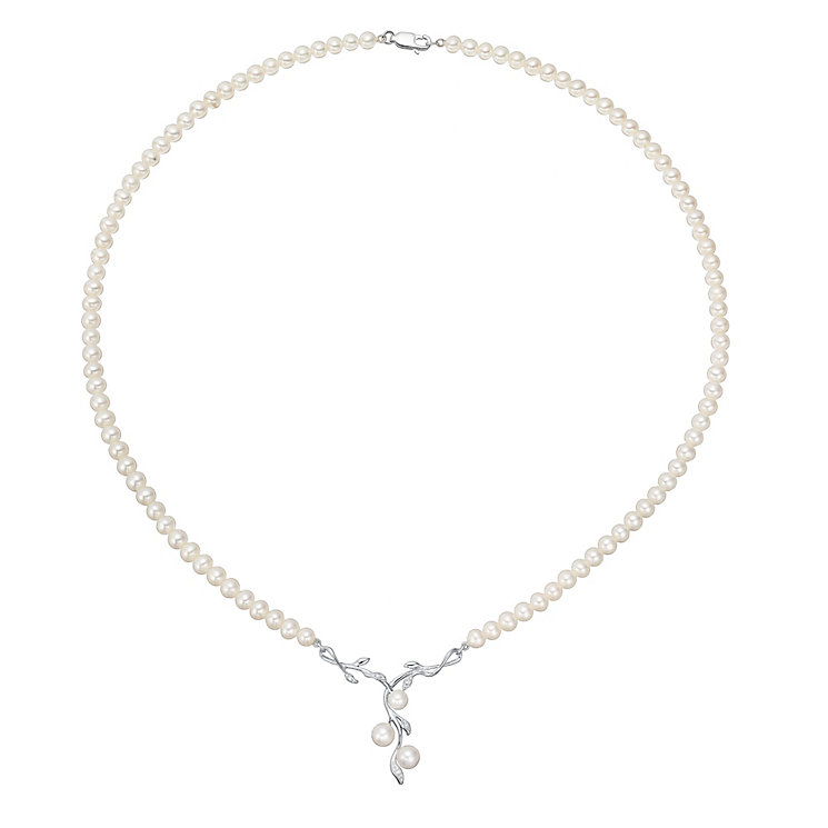 9ct White Gold Cultured Freshwater Pearl Necklace - Product number 4298403
