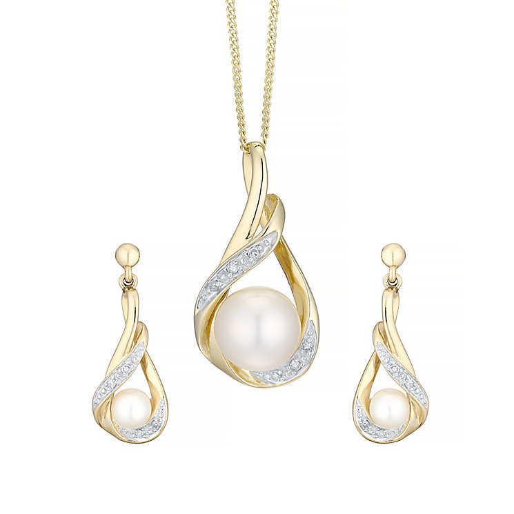 9ct Yellow Gold Cultured Freshwater Pearl Set - Product number 4298438