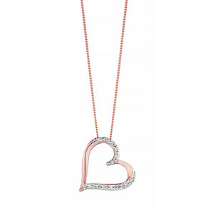 9ct Rose Gold Diamond Heart Pendant - Product number 4298519