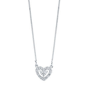 9ct White Gold 0.10ct Diamond Heart Pendant - Product number 4298535