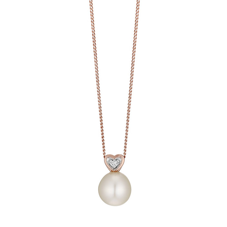9ct Rose Gold Cultured Freshwater Pearl & Diamond Pendant - Product number 4298969