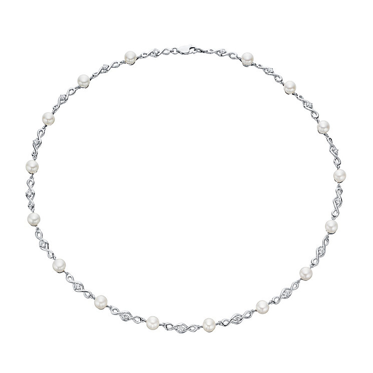 Silver Cultured Freshwater Pearl Cubic Zirconia Necklace - Product number 4299108