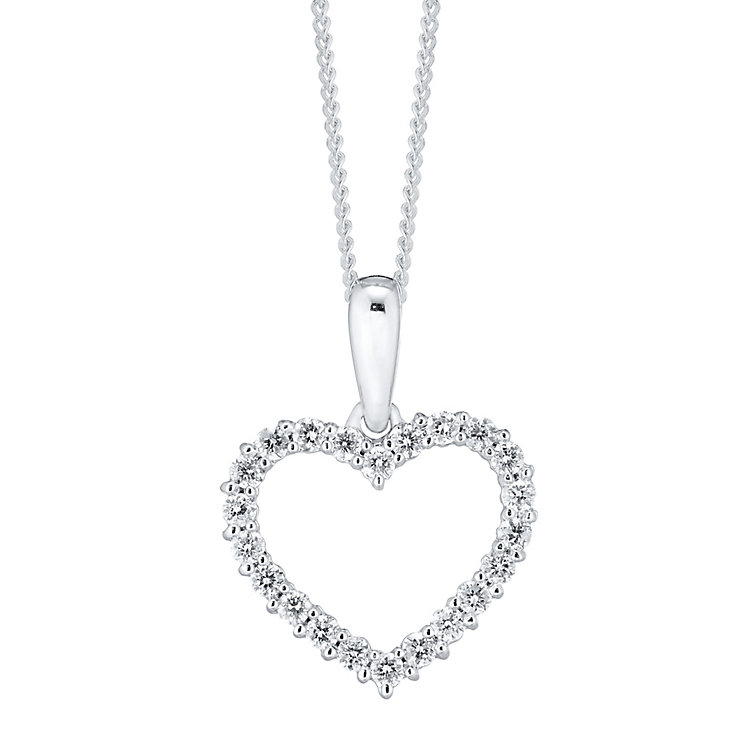 18ct White Gold 0.25ct Diamond Open Heart Pendant - Product number 4299213