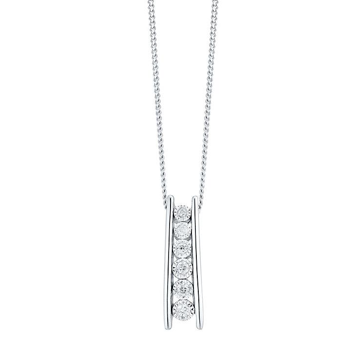 9ct White Gold 0.10ct Diamond Stick Pendant - Product number 4299450