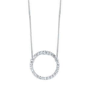 9CT WHITE GOLD 0.10CT DIAMOND CIRCLE NECKLET - Product number 4299469