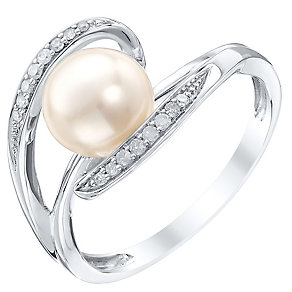 9ct White Gold Cultured Freshwater Pearl & Diamond Ring - Product number 4301773