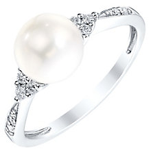 9ct White Gold Cultured Freshwater Pearl & Diamond Ring - Product number 4302699