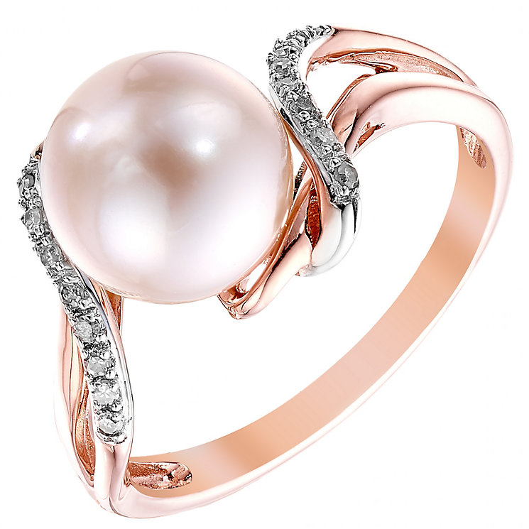 9ct Rose Gold Cultured Freshwater Pearl & Diamond Ring - Product number 4303563