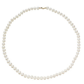 "18"" 9ct Yellow Gold Cultured Freshwater Pearl Necklace. - Product number 4307089"