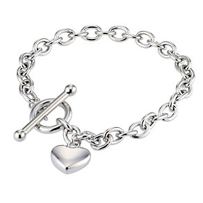 9ct White Gold Heart T-bar Bracelet - Product number 4321030