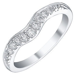 Platinum 0.15ct Diamond Set Shaped Band - Product number 4325133