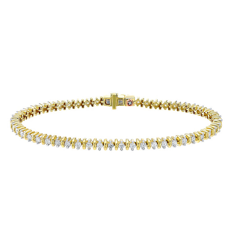 9ct Yellow Gold 2ct Diamond Bracelet - Product number 4327276