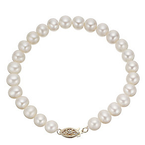 9ct Yellow Gold Certified Cultured Freshwater Pearl Bracelet - Product number 4328043