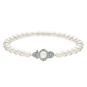 9ct White Gold Certified Cultured Freshwater Pearl Bracelet - Product number 4328205