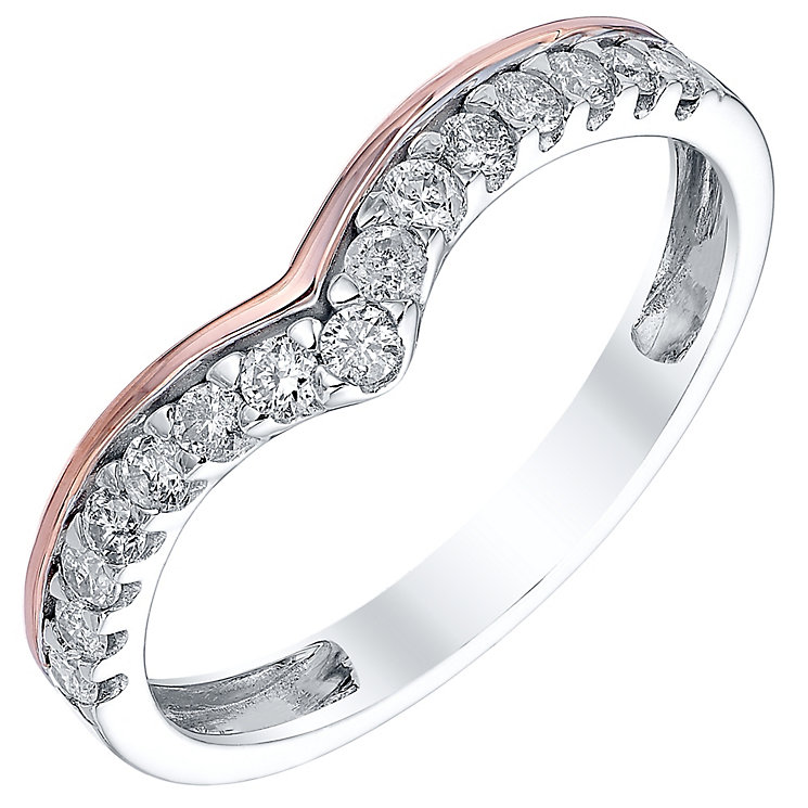 18ct White Gold & Rose Gold Shaped 0.25ct Diamond Band - Product number 4328396