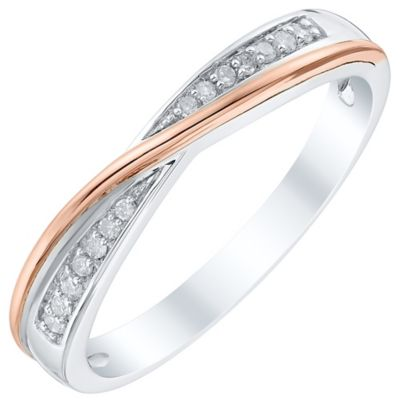 18ct White Gold and Rose Gold Diamond Crossover Ring Ernest Jones