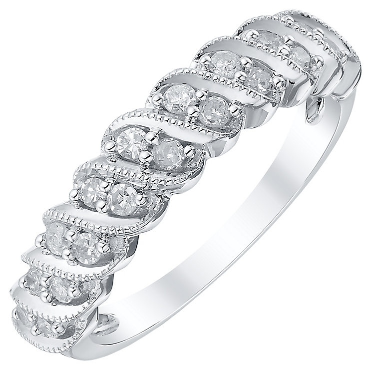 18ct White Gold 0.25ct Diamond Millgrain Twist Band - Product number 4328663