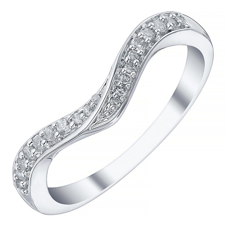 18ct White Gold 0.10ct Diamond Shaped Band - Product number 4328833