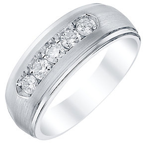 Men's 9ct White Gold 5 Stone 50pt Diamond Band - Product number 4329104