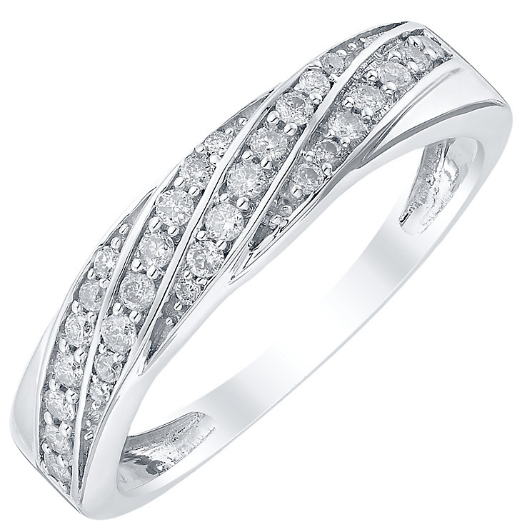 18ct White Gold 20pt Twisted Band - Product number 4329686