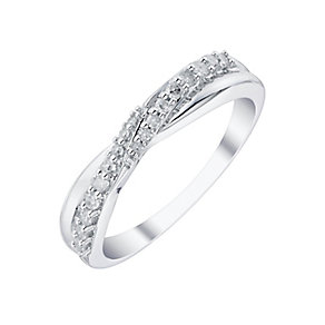18ct White Gold 0.16ct Diamond Crossover Band - Product number 4330099