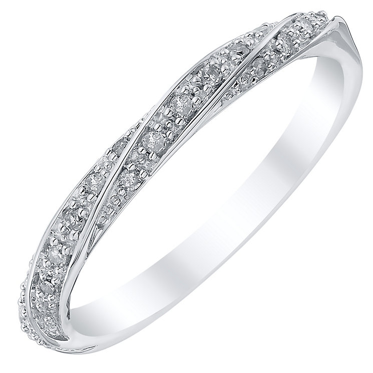18ct White Gold Diamond Twisted Band - Product number 4332075