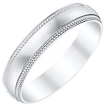 9ct White Gold 4mm Beaded Edge Band - Product number 4332717