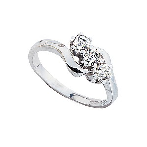 18ct white gold half carat diamond three stone ring - Product number 4336143