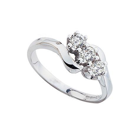 18ct white gold half carat diamond three stone ring